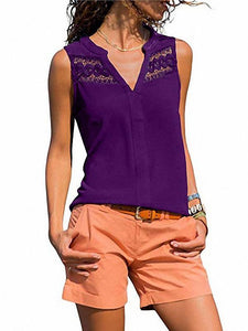 Solid Color V-Neck Sleeveless Lace Stitching