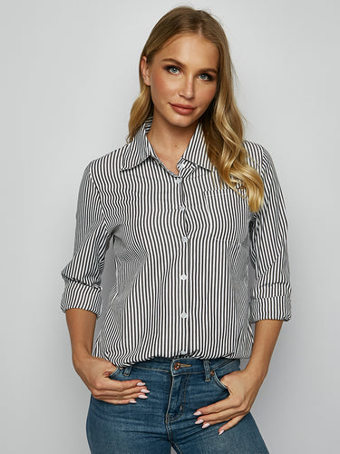 Self-Designed Striped Casual Long Sleeve Shirt