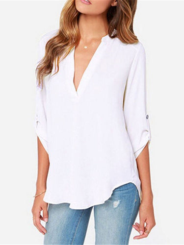 Solid Color Deep V-Neck Long-Sleeved Shirt