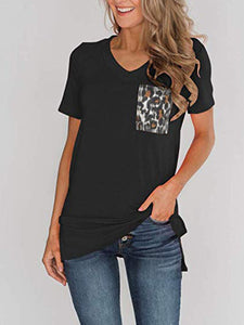 Knitted Leopard Printed Pocket T-Shirt
