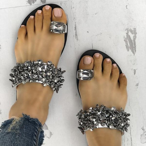 Flip-Flop Rhinestone Sequined Flat Slippers Sandal