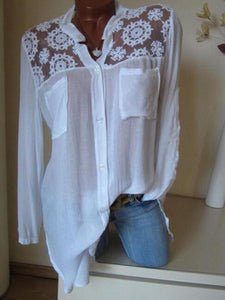Solid Color Lace Stitching V-Neck Shirt