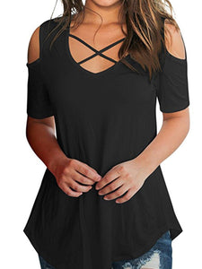 V Neck  Cutout Loose Fitting  Plain Short Sleeve T-Shirts
