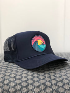 Adult ||| Trucker Hat ||| Manhattan Beach Teal Wave - Local Stripes