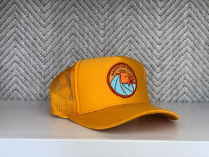 Adult ||| Trucker Hat ||| Manhattan Beach Orange Palm - Local Stripes