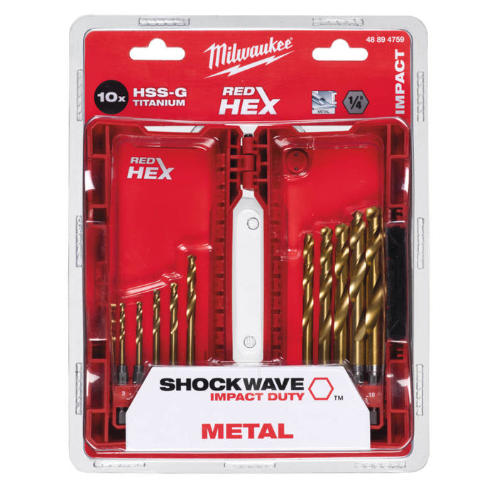 "Milwaukee Metalliporanteräsarja 1/4"" hex - 10 osaa"