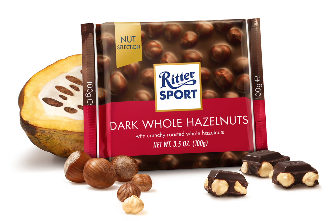 Ritter Whole Dark Hazelnut Chocolate 100gr