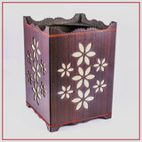 Flower Design Wooden Basket