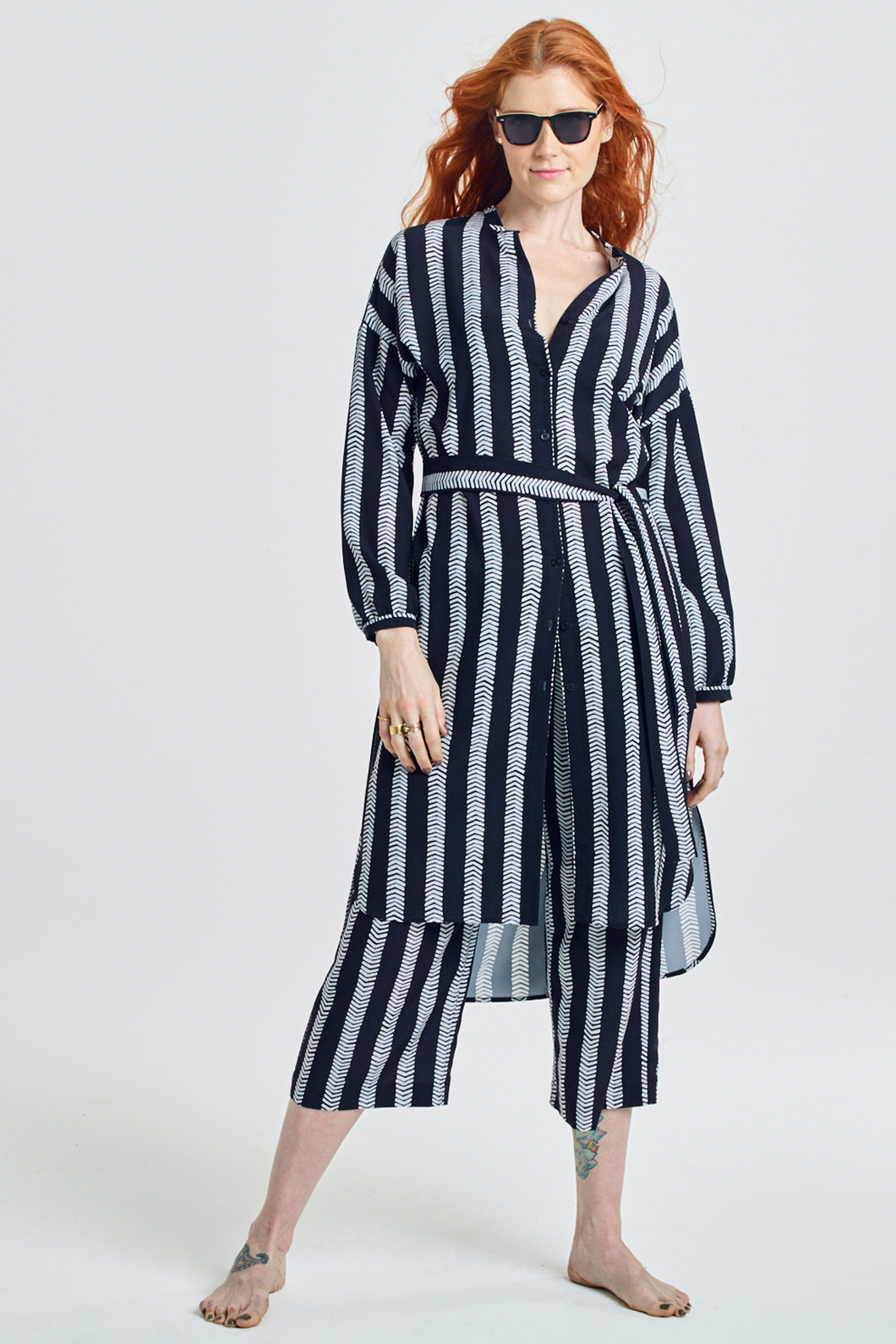 Long Button-Front Belted Tunic