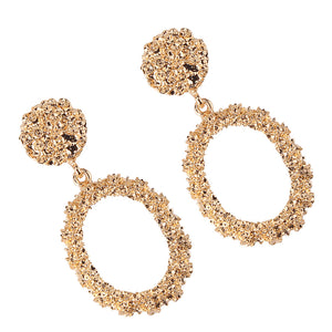 """Oval"" Gold Textured Earrings"