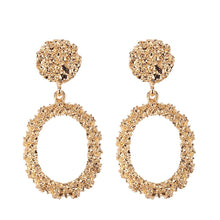 "Load image into Gallery viewer, ""Oval"" Gold Textured Earrings"