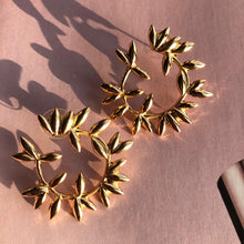 "Load image into Gallery viewer, ""Leaf"" Gold Earrings"