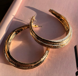 """Hoop"" Gold Textured Earrings"
