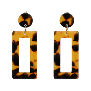 """Geometric Tortoise Shell"" Brown Acrylic Earrings"