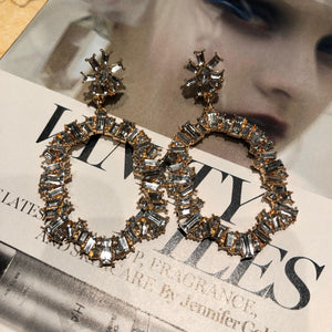 """Studded"" Gold Crystal Earrings"