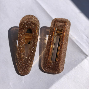 """Gold Glitter"" Acrylic Rectangle Hair Clip"