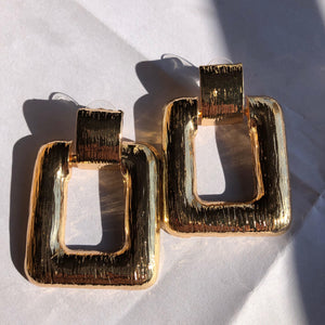 """Rectangle Statement"" Gold Solid Earrings"