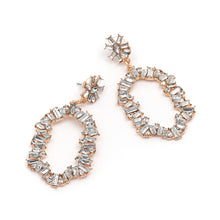 "Load image into Gallery viewer, ""Studded"" Gold Crystal Earrings"