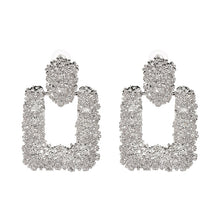 "Load image into Gallery viewer, ""Rectangle Statement"" Silver Textured Earrings"