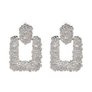 """Rectangle Statement"" Silver Textured Earrings"