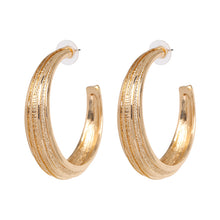 "Load image into Gallery viewer, ""Hoop"" Gold Textured Earrings"