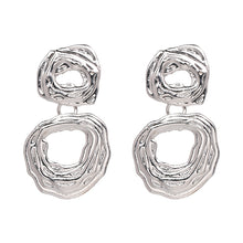 "Load image into Gallery viewer, ""Drop Down"" Silver Textured Earrings"
