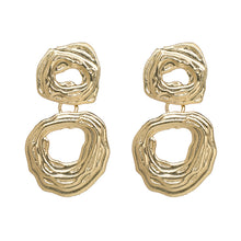 "Load image into Gallery viewer, ""Drop Down"" Gold Textured Earrings"