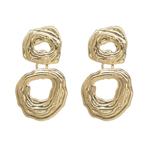 """Drop Down"" Gold Textured Earrings"