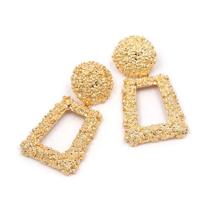 """Circular Top"" Gold Textured Earrings"