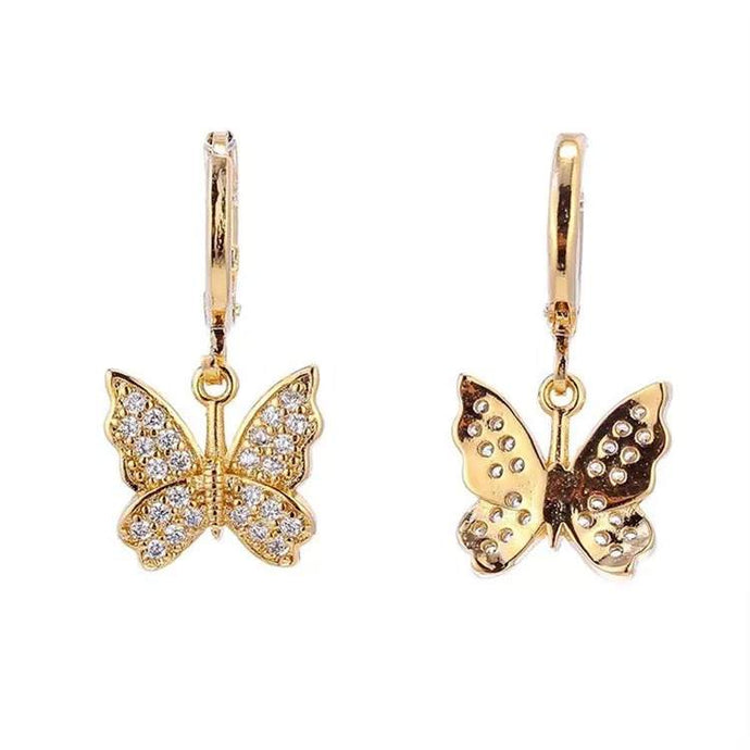 STUDDED BUTTERFLY Gold Earrings