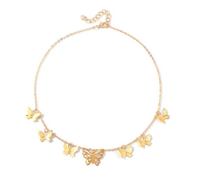 MULTIPLE BUTTERFLY Gold Necklace