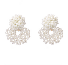 "Load image into Gallery viewer, ""Mini Bead"" White Sequin Earrings"