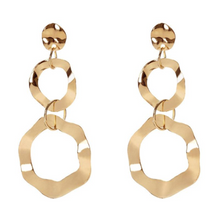"Load image into Gallery viewer, ""Drop Down"" Circular Gold Earrings"