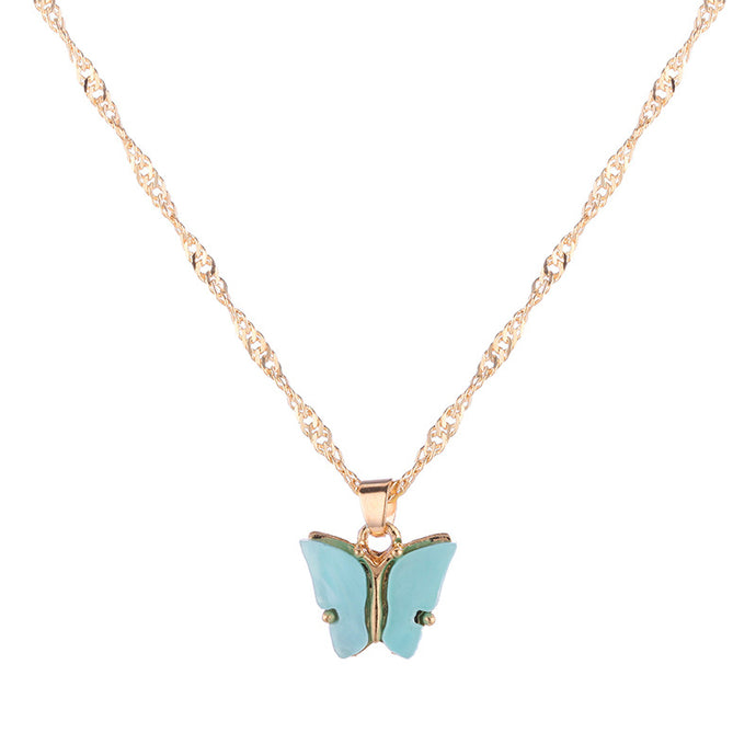 BLUE Acrylic Butterfly Necklace