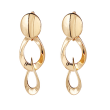 "Load image into Gallery viewer, ""Drop Down"" Gold Solid Earrings"
