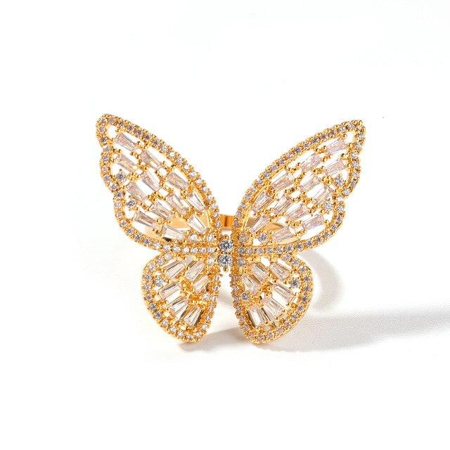 BUTTERFLY Gold Adjustable Ring