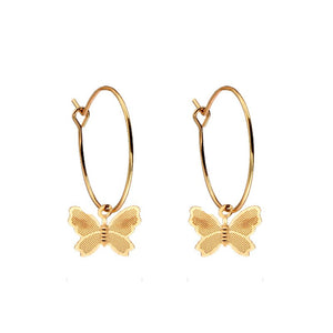 BUTTERFLY HOOP Gold Earrings