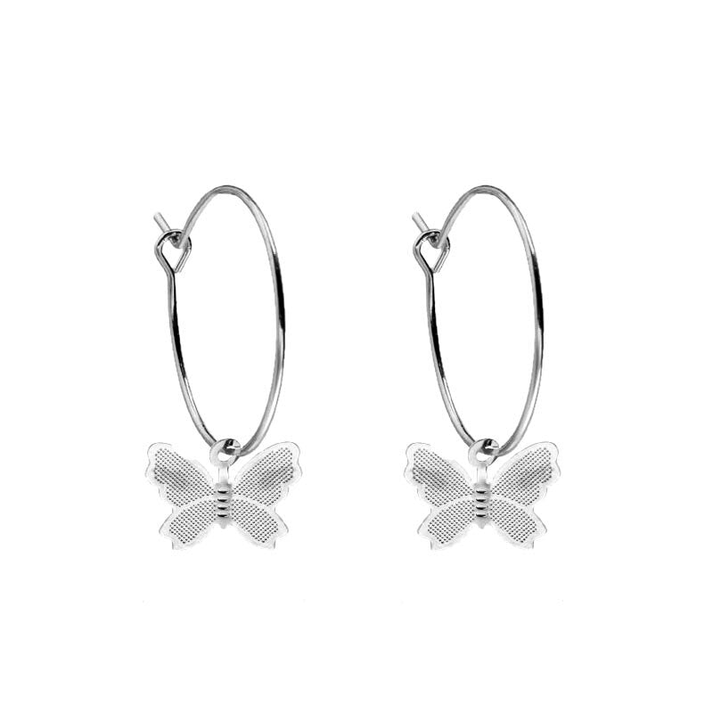 BUTTERFLY HOOP Silver Earrings
