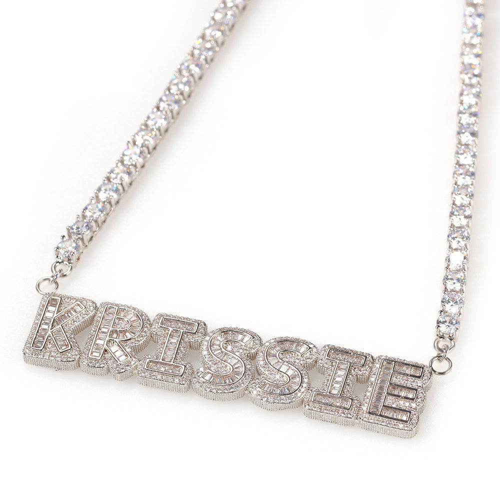 CUSTOM NAME Necklace |Iced Out Tennis