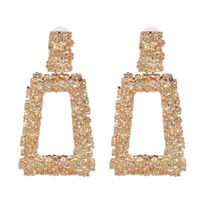 """Square Top"" Gold Textured Earrings"