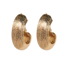 "Load image into Gallery viewer, ""Mini Hoop"" Gold Textured Earrings"