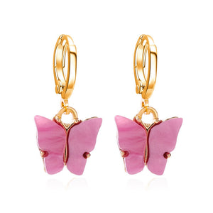 PINK Acrylic Butterfly Earrings