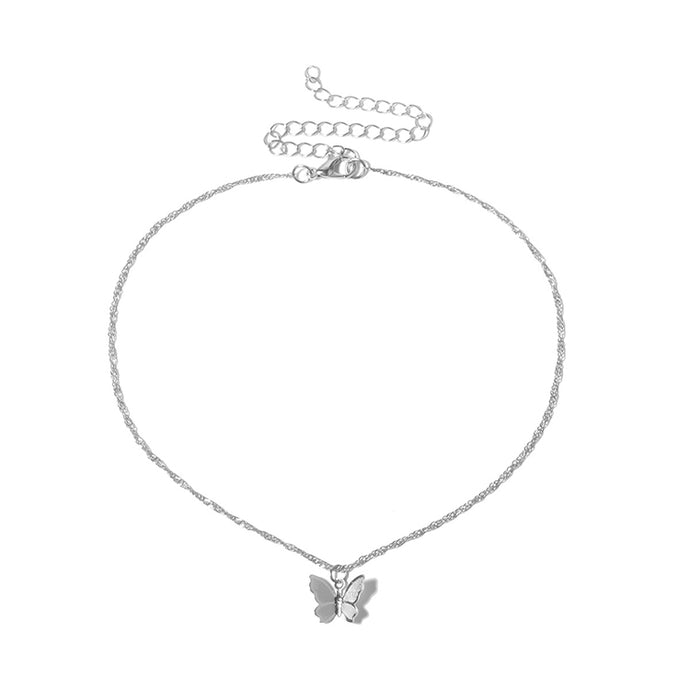 SINGLE BUTTERFLY Silver Necklace
