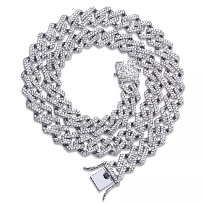 SILVER JAGGED Cuban Link Necklace |20MM