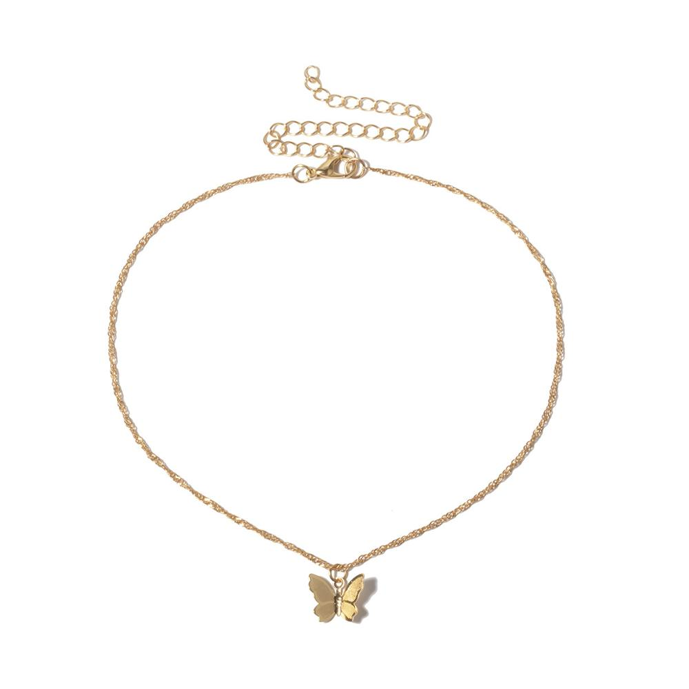 SINGLE BUTTERFLY Gold Necklace