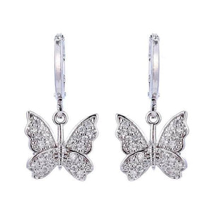 STUDDED BUTTERFLY Silver Earrings