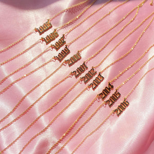 YEAR Number Gold Necklace|Old Fashion