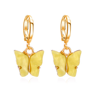 YELLOW Acrylic Butterfly Earrings