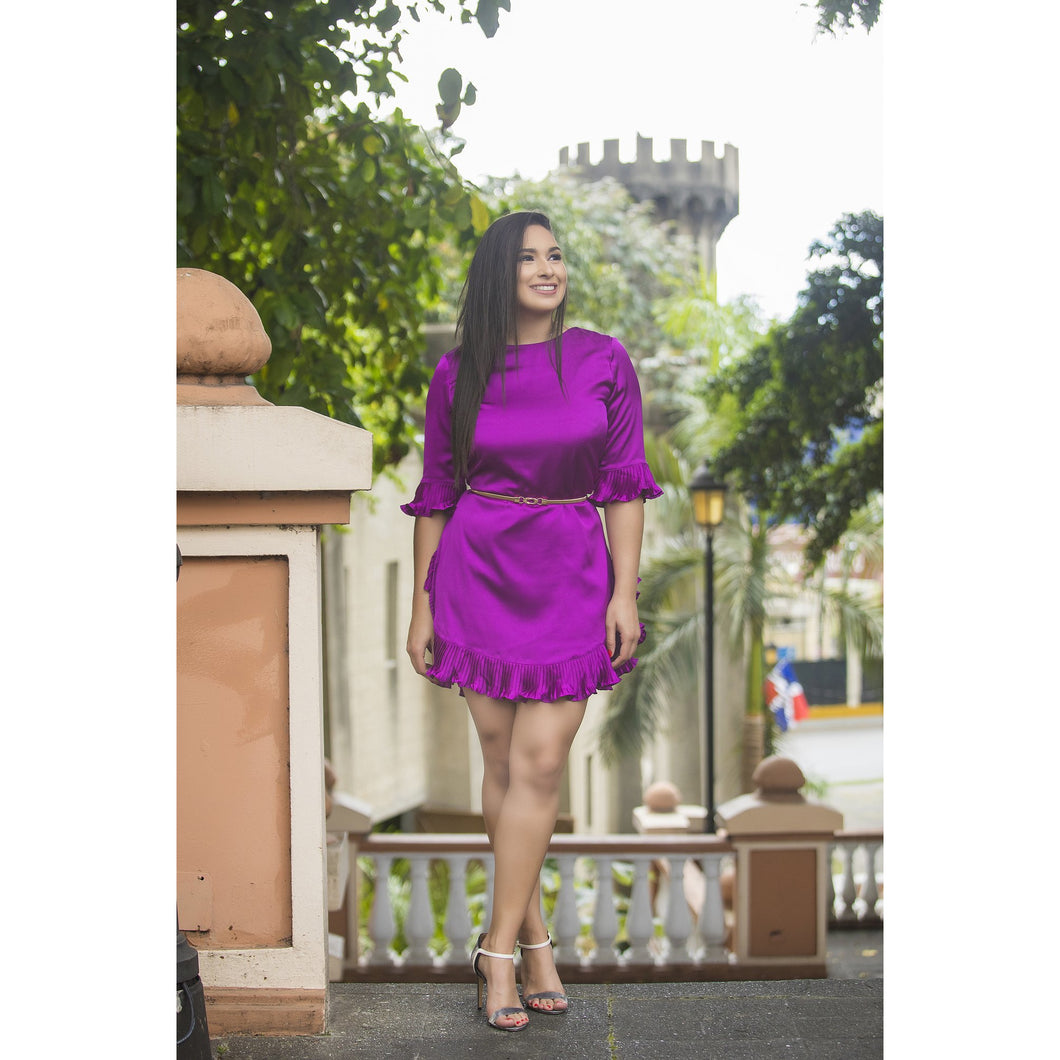 MAGENTA PLEATED DRESS