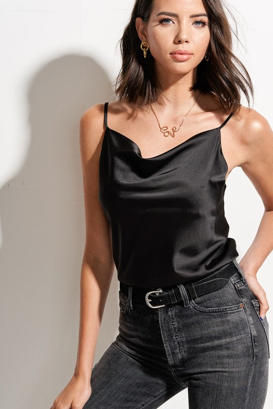 Cowl Neck Satin Cami